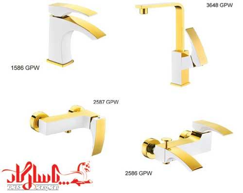 کرومات-شیر الات مدل میلانا سفید طلایی